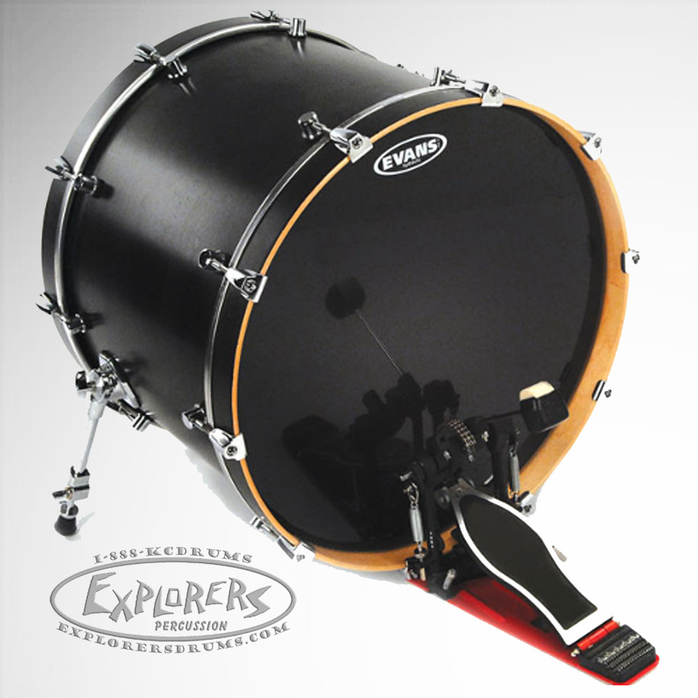 evans 22 hydraulic black 2 ply bass drum head. Black Bedroom Furniture Sets. Home Design Ideas
