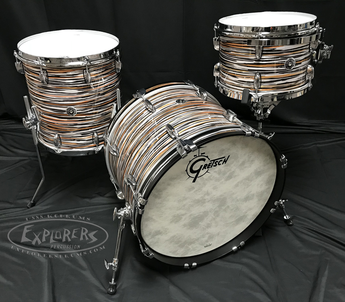 gretsch drum set brooklyn series 3 piece shell pack w chrome hardware black orange oyster. Black Bedroom Furniture Sets. Home Design Ideas