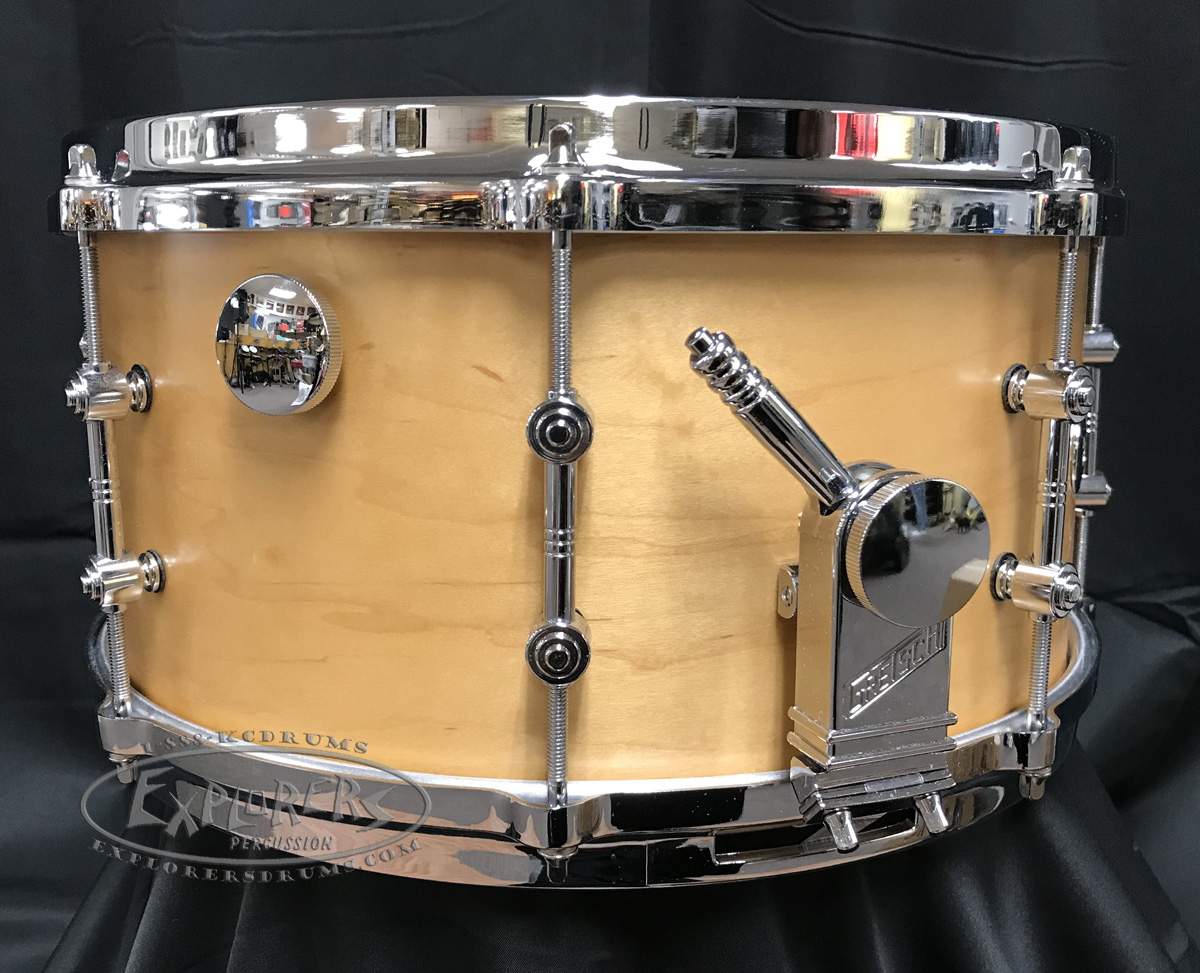 gretsch snare drum usa custom 7x14 round badge exclusive satin millennium maple gum shell. Black Bedroom Furniture Sets. Home Design Ideas
