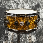 DW Collector's Series 6.5 x 14 Maple Mahogany Snare Drum in Gold Abalone Finish Ply with Black Nickel Hardware