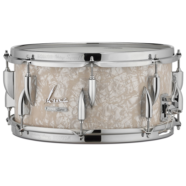 Sonor vintage series 14 x vintage white pearl snare drum for Classic house drums