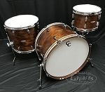 C&C Custom Drum Set Player Date 2 Big Beat 3 Piece 7 Ply Map/Mah/Map in Brown Mahogany Stain w/ Double Lugs - 22,12,16