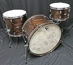 C&C Custom Drum Set Player Date 2 Big Band 3 Piece 7 Ply Map/Mah/Map in Walnut Satin Stain w/ Double Lugs - 24,13,16