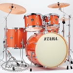 Tama Superstar Classic 5 Piece Shell Package - Bright Orange Sparkle Finish