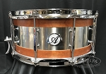 Acoutin Custom Snare Drum 6.5x14 Steam Bent Cherry Wood w/ Brushed Stainless Steel Shell