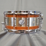 Acoutin Custom 6.5x14 Steam Bent Walnut w/ Brushed Stainless Stell Snare Drum
