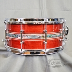 C&C Custom Snare Drum 6 Ply Mahogany w/ 6 Ply Re-Ring and a Purple Heart Abalone Inlay
