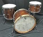 C&C Custom Drum Set Player Date 2 Big Beat 3 Piece 7 Ply Map/Mah/Map in Brown Mahogany Stain w/ Double Lugs