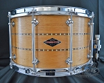 Craviotto Custom Snare Drum 6.5x14 Solid Shell Mahogany w/ Double Walnut Inlay & 45 Bearing Edge