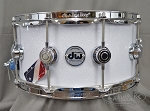 DW Snare Drum Collector's Series 6.5x14 Cherry Mahogany w/ Chrome Hardware - White Glass