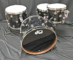DW Drum Set Collector's Series 4 Piece Chechen / Mahogany Shell Pack in Black Velvet Finish
