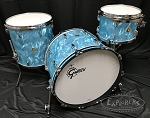 Gretsch USA Custom Drum Set 3 Piece Maple / Gum 6 Ply Shell in Satin Aqua Flame Nitron Finish - 22,12,16
