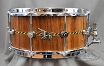 Hendrix Snare Drum Archetype 6.5x14 American Black Walnut Stave Shell - Gloss Finish w/ Decorative Inlay