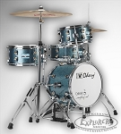 Odery Cafe Kit Portable Drum Set with Hi-Hat Stand and Bass Pedal - Blue Sparkle