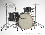 Sonor Drum Set SQ1 Series 100% European Birch 3 Piece Shell Pack - GT Black w/ Natural Beech Bass Drum Hoops