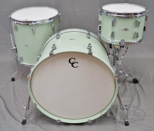 C&C Custom Drum Set 6 Ply Maple Gum 3 Piece Shell Pack w/ Chrome Hardware - Menta Green Finish 22,12,16