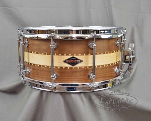 Craviotto Custom Snare Drum Solid Shell 6.5x14 Walnut/Maple/Walnut Stacked w/ 45 Bearing Edges