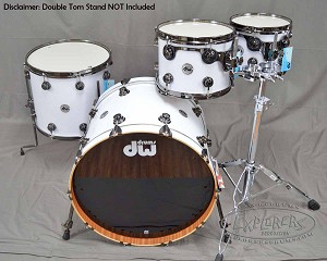 DW Drum Set Collector's Series 4 Piece Cherry/Mahogany Hybrid Shell Pack - White Glass Finish w/ Black Nickel Hardware