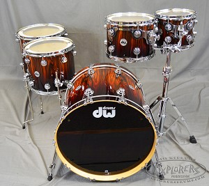 DW Drum Set Exotic Series X6 to Natural Deep Fade over Santos Redwood w/ Chrome Hardware 5 Piece Shell Pack