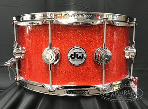 DW Snare Drum Collector's 6.5x14 Maple Standard w/ Chrome Hardware - Super Tangerine Sparkle