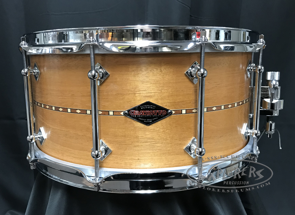 Craviotto Custom Snare Drum Solid Shell 6.5x14 Mahogany w/ Walnut Inlay 45/45 Edges