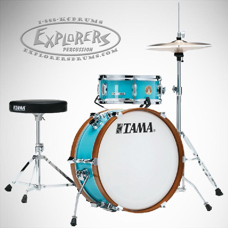 Tama Drum Set Club-Jam Mini 2 Piece Mersawa/Poplar Hybrid Shell Pack in  Aqua Blue