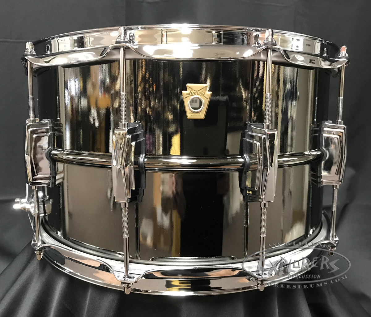 Ludwig Snare Drum USA 8X14 Supraphonic Black Beauty Black Nickel Over Brass Smooth Shell w/ Imperial Lugs