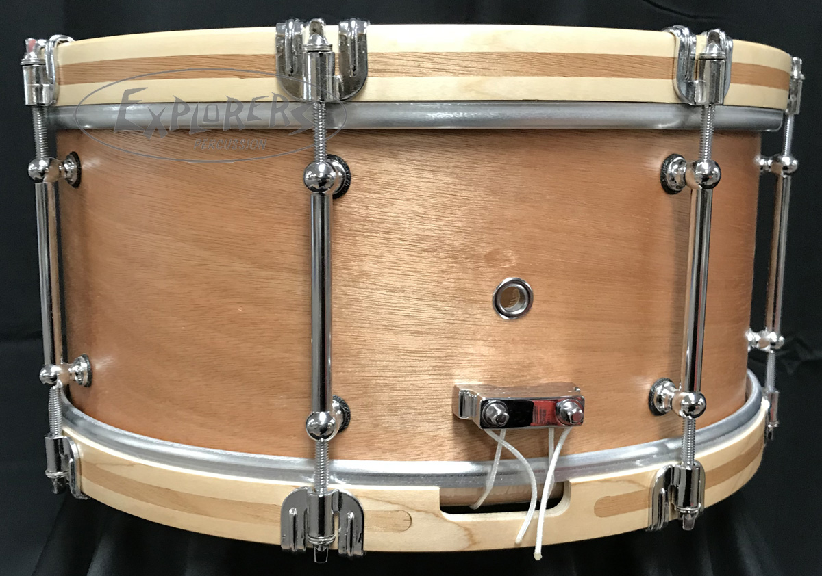 c c custom snare drum 7 ply mahogany shell wooden hoops w mahogany inlay tube lugs in. Black Bedroom Furniture Sets. Home Design Ideas
