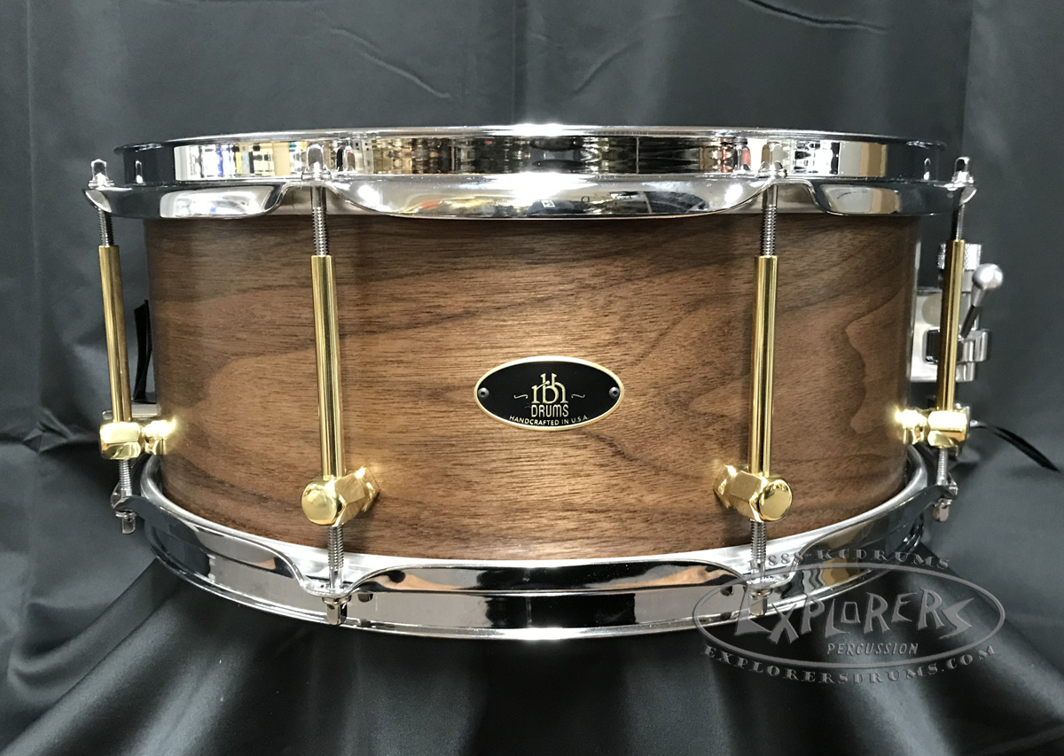 rbh custom prestige snare drum 6x14 solid walnut shell w maple re rings brass lugs. Black Bedroom Furniture Sets. Home Design Ideas