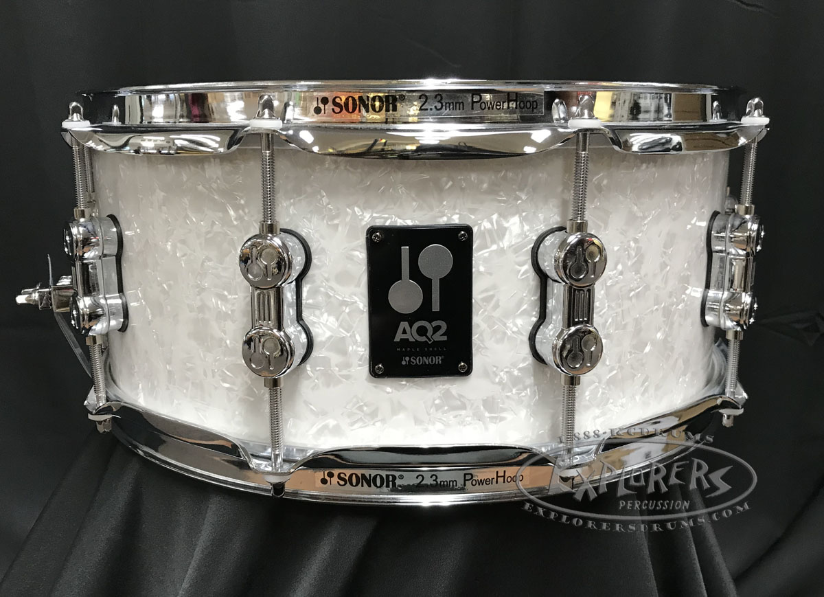 sonor snare drum aq2 series 6x14 maple shell white pearl. Black Bedroom Furniture Sets. Home Design Ideas