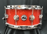 DW Snare Drum Collector's 6.5x14 Maple Mahogany w/ Chrome Hardware - Super Tangerine Sparkle