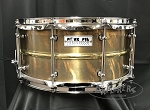 Pork Pie Snare Drum USA Custom 6.5x14 Patina Brass Shell with Polished Bead