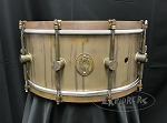 A&F Drum Co. Snare Drum 6.5x14 Raw Brass Shell w/ Raw Brass Hoops & Lugs