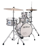Odery Cafe Kit Portable Drum Set with Hi-Hat Stand and Bass Pedal - White Ash
