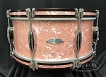 C&C Custom Snare Drum 6.5x14 Player Date 2 7 Ply Maple/Mahogany/Maple Shell - Wooden Hoops w/ Inlays in Rose Marine Pearl