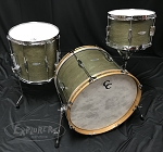 C&C Custom Drum Set 3 Piece Oak / Mahogany 5 Ply Shells in Olive Finish w/ Ginger Sparkle Inlay - 20, 12, 14
