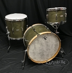 C&C Custom Drum Set 3 Piece Oak / Mahogany 5 Ply Shells in Olive Finish w/ White Marine Pearl Inlay - 22, 13, 16