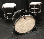 C&C Custom Drum Set Player Date 2 Big Band 3 Piece 7 Ply Map/Mah/Map in Ebony Satin w/ Marine Pearl Inlay - 24,13,16