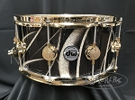 DW Snare Drum Collector's Series 6.5x14 Maple Shell 10+6 in Smoke Glass Contrail w/ Gold Hardware