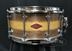 Craviotto Snare Drum Custom Private Reserve 6.5x14 Wal/Mah/Yellow Heart/Mah/Wal Stacked Shell w/ 45 Edges - Oil Finish
