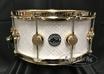 DW Snare Drum Collector's Series 6.5x14 Maple Shell 10+6 in White Crystal w/ Gold Hardware
