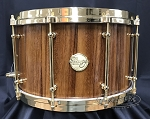 Doc Sweeney Snare Drum USA Custom Crescendo 8x14 Stave Parota Shell w/ Brass-Finished Hardware & Dual 45 Edges
