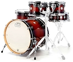 DW Drum Set Design Series 5 Piece Maple Shell Pack in Tobacco Burst Lacquer