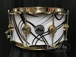 DW Snare Drum Collector's Series 6.5x14 Maple Mahogany Shell in White Glass Contrail w/ Gold Hardware