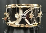 DW Snare Drum Collector's Series 6.5x14 Maple Mahogany Shell in Smoke Glass Contrail w/ Gold Hardware