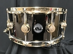DW Collectors Series Snare Drum 6.5x14 Black Nickel over Brass Shell - Gold Hardware