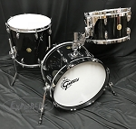 Gretsch Drum Set USA Custom Round Badge 3 Piece Maple/Gum Shell Pack in Piano Black - 18,12,14