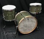 C&C Custom Drum Set 3 Piece Oak / Mahogany / Maple 5 Ply Shells in Olive Finish w/ White Marine Pearl Inlay - 22, 13, 16