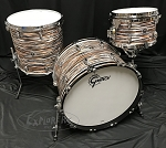 Gretsch Drum Set Brooklyn Series 3 Piece Shell Pack w/ Chrome Hardware - Black Orange Oyster - 22,12,16