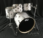 DW White Crystal pure maple 333 drum kit with chrome hardware 10/12/16/22